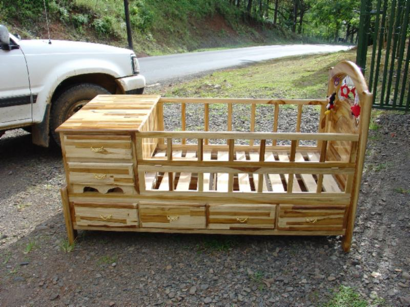 Tropical Hardwood Teak Crib Convertible To Youth Bed